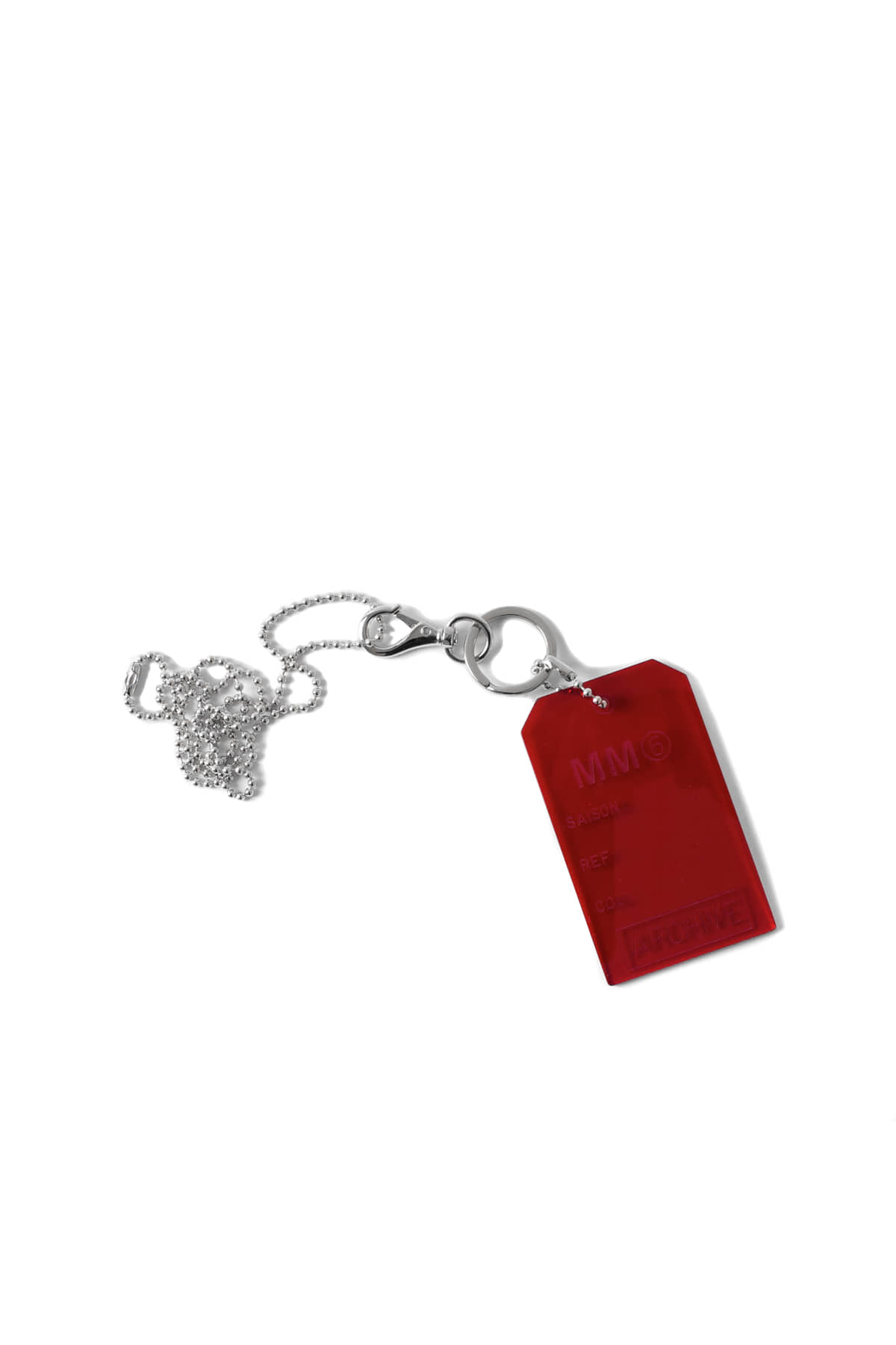 MM6 Maison Margiela : Red Logo Necklace (Red)