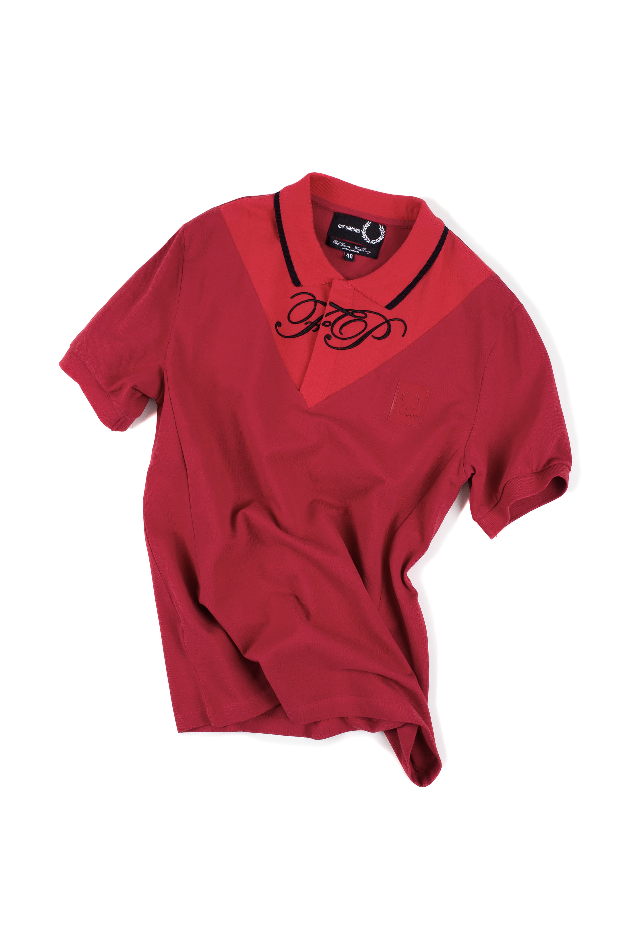 FRED PERRY x Raf Simons : V-Insert Pique Shirt (Red)