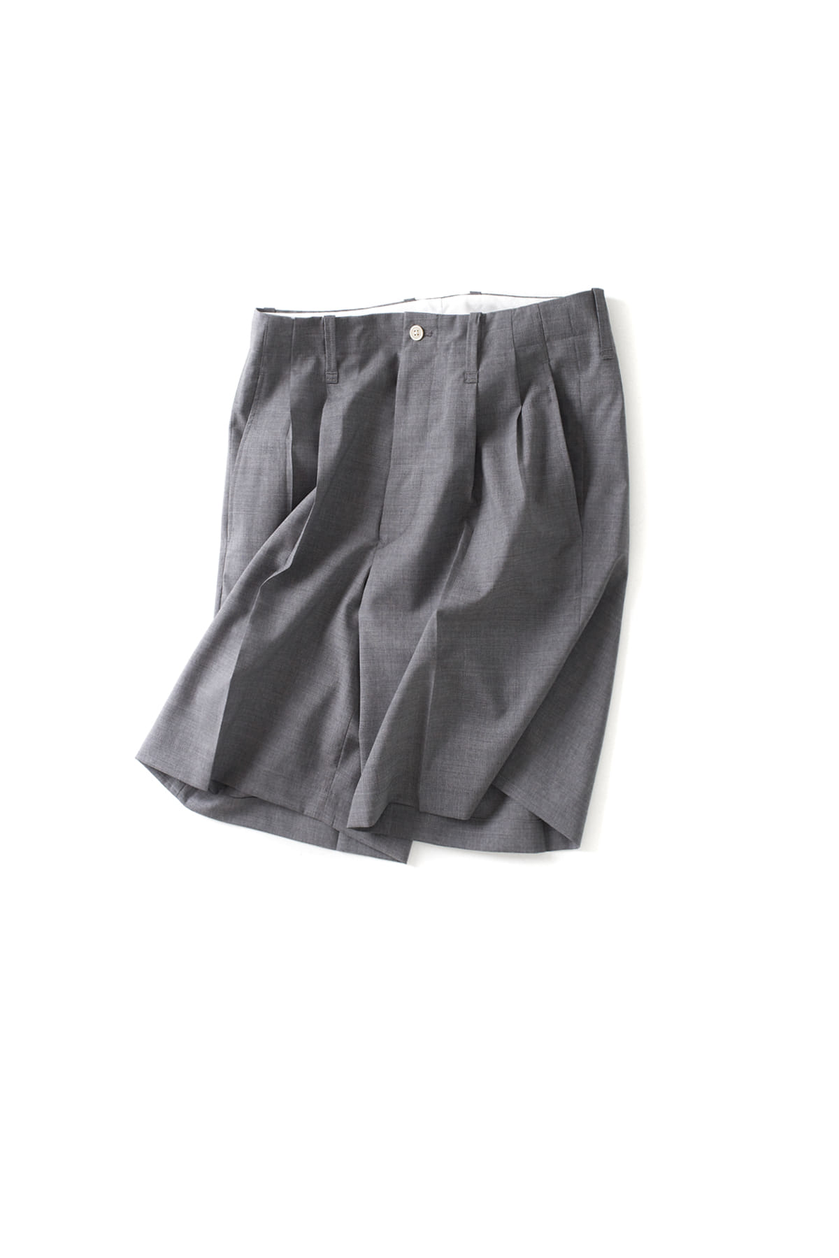 Scye : Pleated Wool Shorts (Grey)