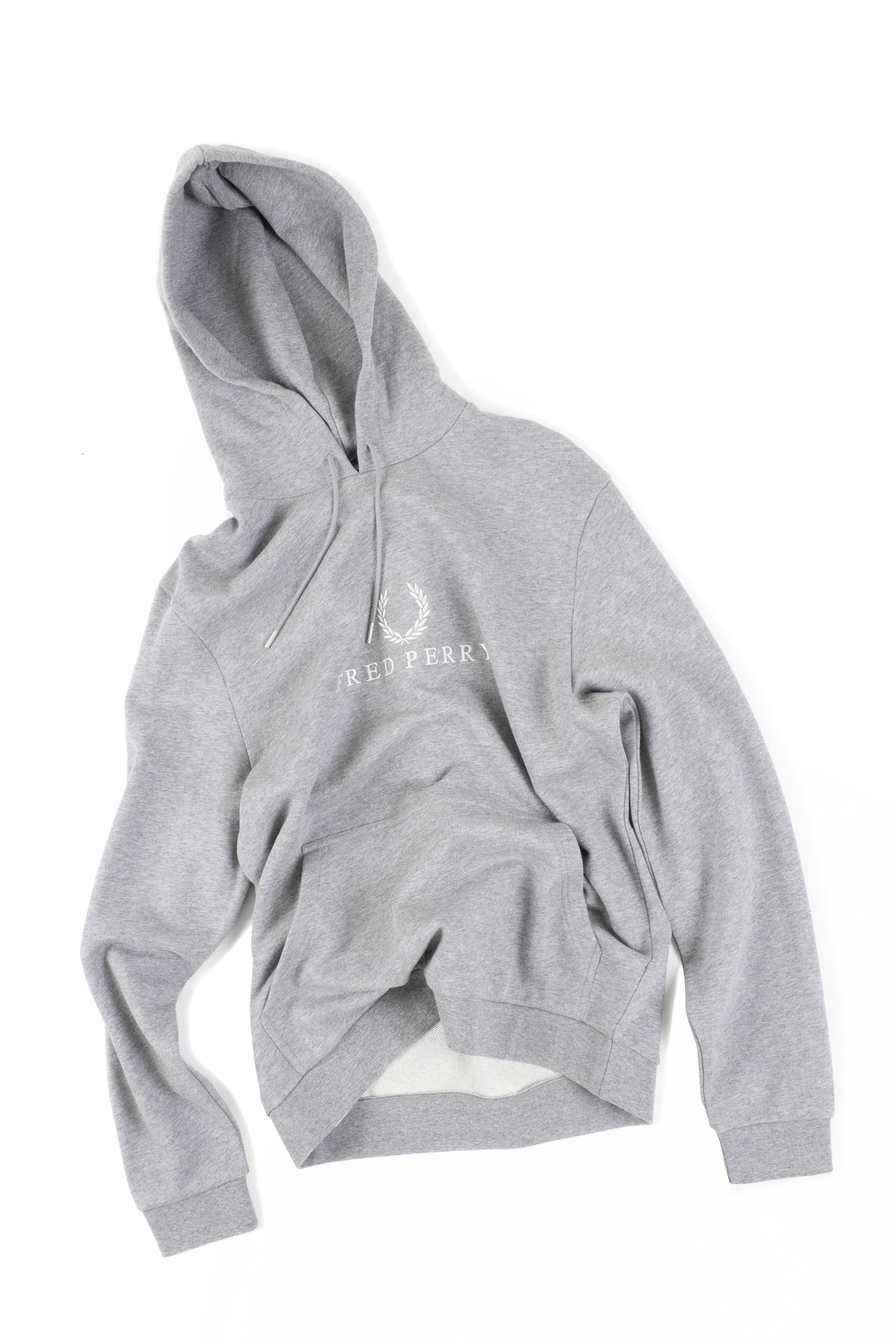 FRED PERRY : Embroidered Hooded Sweatshirt (Gray)