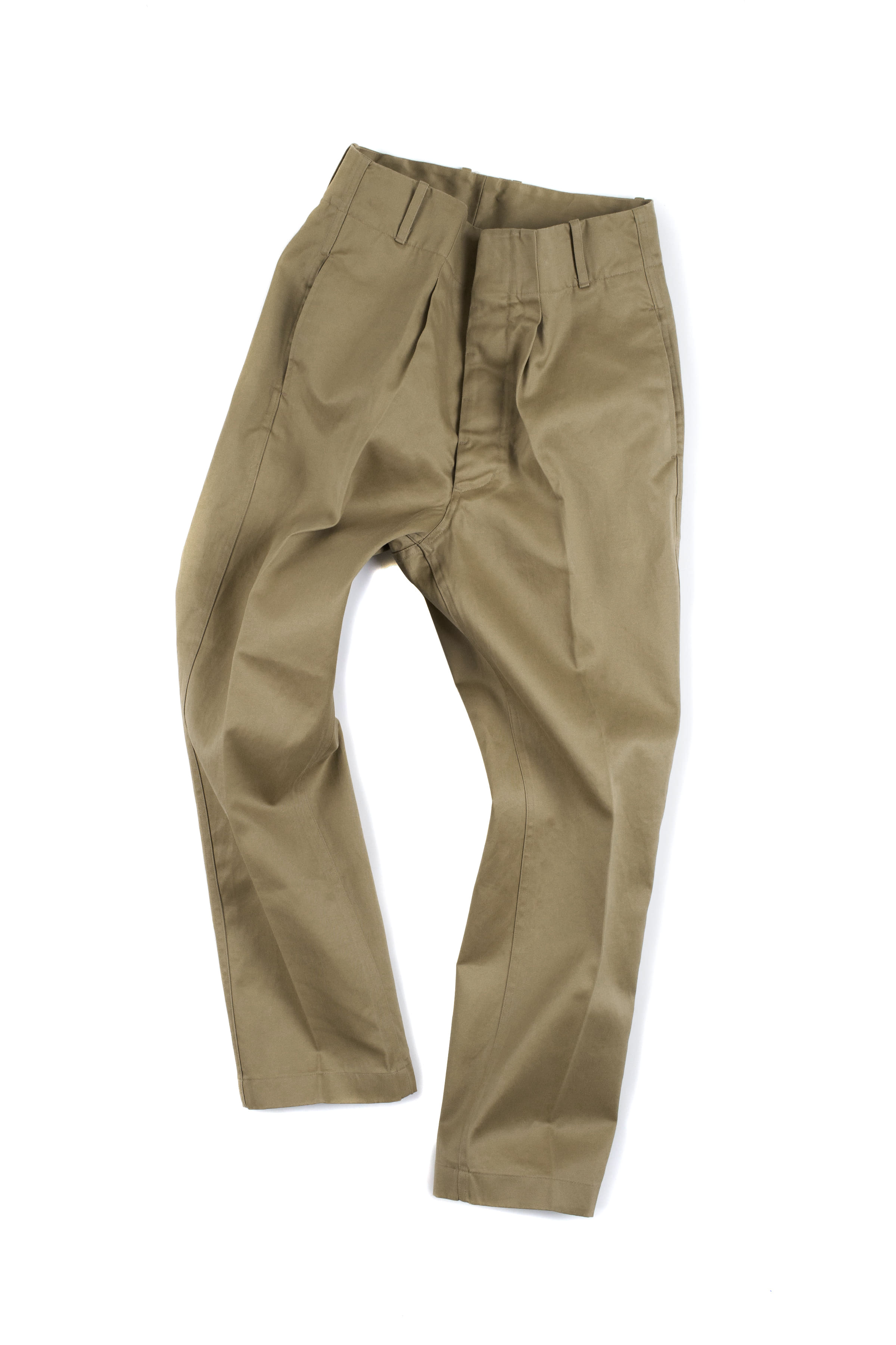Document : High Waist Cotton Trousers (Beige)
