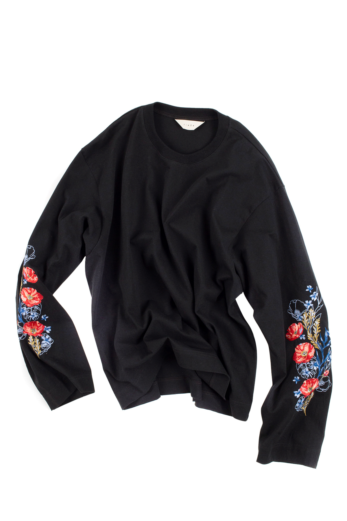 JieDa : Flower Embroiderey L/S (Black)