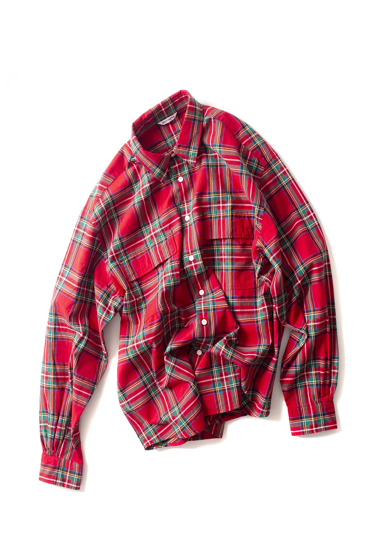 NEITHERS : 2 Pocket Wide Shirt (Red / Green)