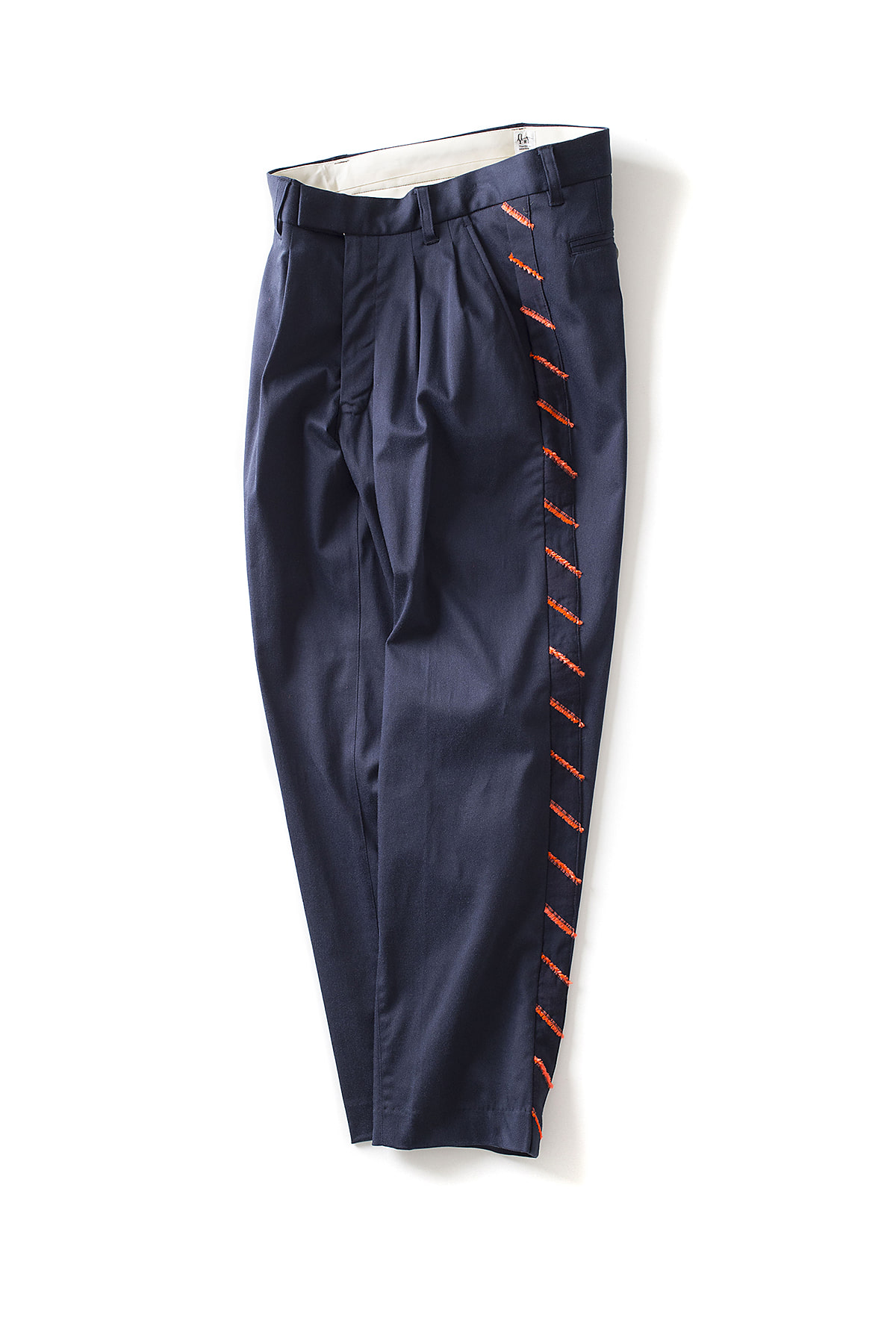 RYU : Two-tuck Tapered Pants With Fringe (Navy)
