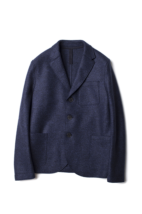 Harris Wharf London : Boxy Jacket Pressed Wool (blue mouline)