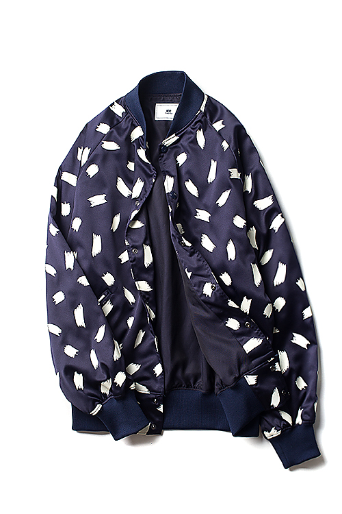 Soe : Pattern Bomber Jacket (Navy)