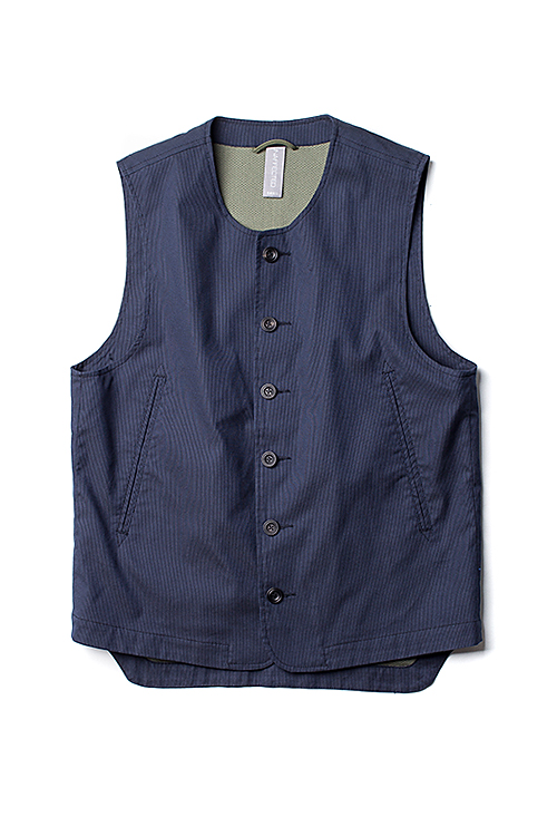 UNAFFECTED : Rounded Neck Vest (Navy Cordlane Stripe)