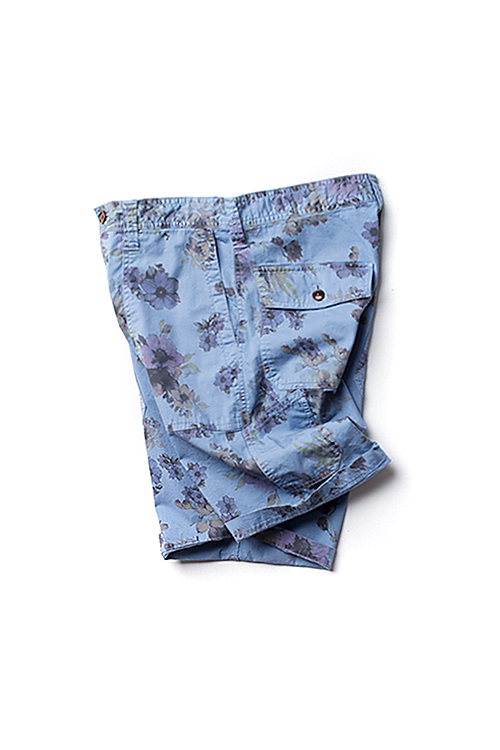 Ts(s) : Garment Dyed Flower Fatigue Shorts (Blue)