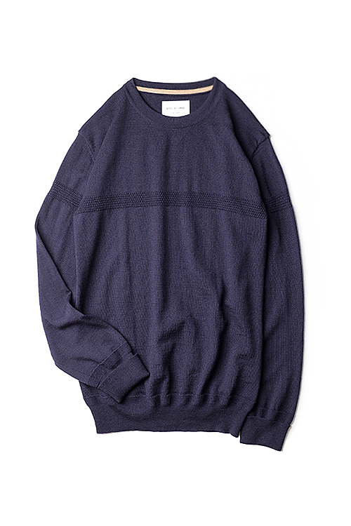 Still By Hand : Line Knit Pullover (Navy)