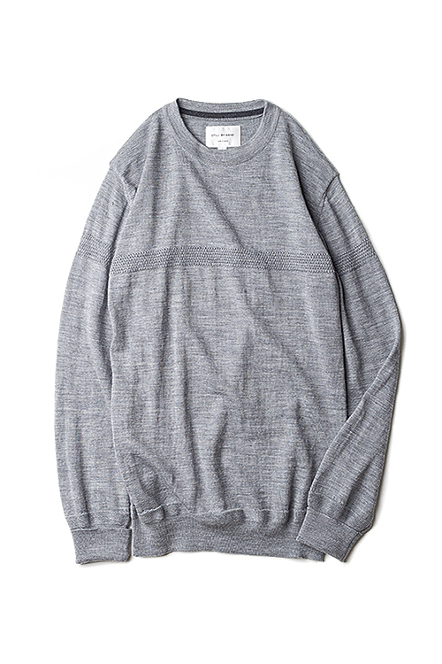Still By Hand : Line Knit Pullover (Grey)