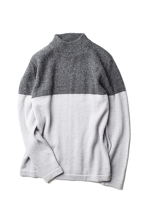 Still By Hand : 2Tone Pullover Knit (Grey)