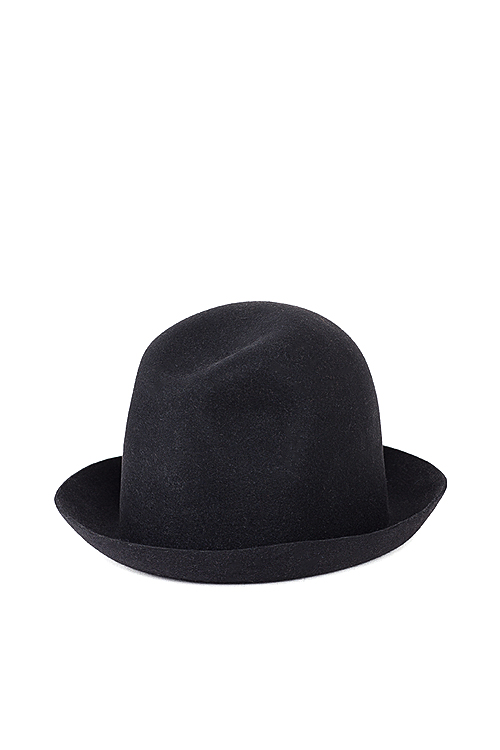 Kijima Takayuki : Wax Coated Short Brim Rabbit Fur Felt Hat (Black)