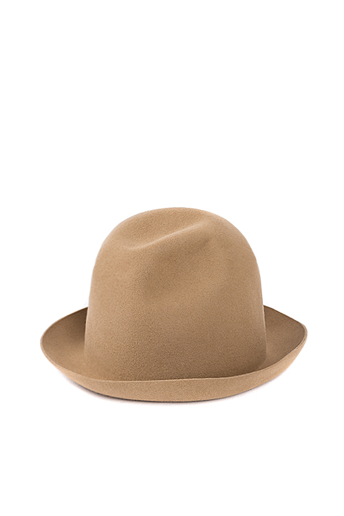 Kijima Takayuki : Wax Coated Short Brim Rabbit Fur Felt Hat (Beige)