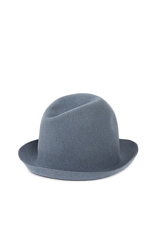 Kijima Takayuki : Wax Coated Short Brim Rabbit Fur Felt Hat (Sax Blue)