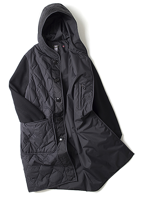 UNAFFECTED : Hooded Liner Coat (Black Quilted)