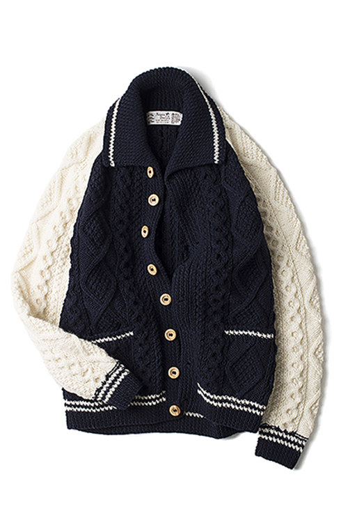 Athena Designs : 2S Collar Cardigan Crazy (Navy / White)